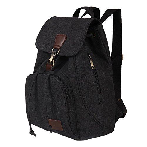 Donna Retro Stile Casual Tela Zaino Scuola Zainetto Zaini scuola Daypacks per ragazza donna caffè nero