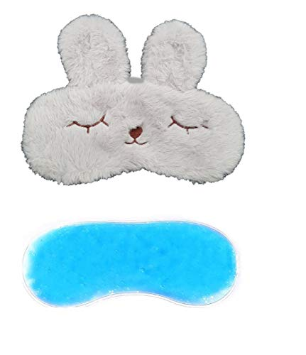 Jenna Fur Bunny Ice Gel Sleeping Eye Mask for Insomnia, Meditation, Puffy Eyes and Dark Circles