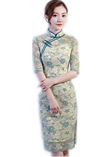 ZDSYYK Chinese Cocktail Party Banquet Wedding Dress Cheongsam Dress New Spring and Summer Lace Long Section Small Fragrance Girl In The Sleeve End (M) -