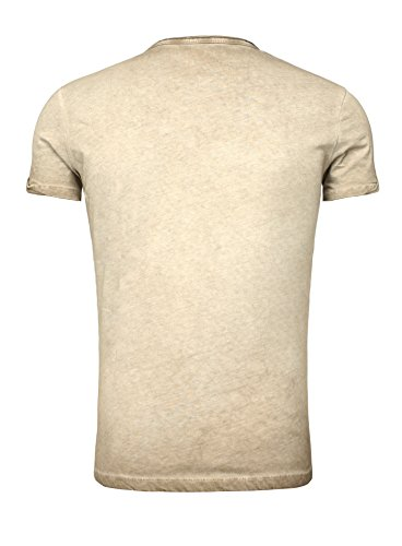 Key Largo Herren Sommer T-Shirt T Weapon Button Printshirt Slim Fit Schnitt V-Ausschnitt mit Knöpfen Braun