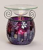 Duftlampe aus Marokko Mosaikglas Glas Aromalampe für Duftöl (Violett)