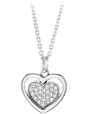 Tuscany Silver Kette Mit Anhänger Rhodiniert Sterling Silber Doppeltes Herz Weiß Zirkonia Einstellbar 41cm - 46cm
