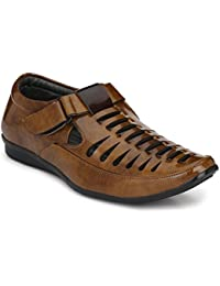 jerkey Men's Stylish and Casual wear Fine Brown Leather Sandals