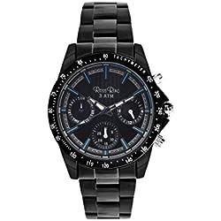 Ross Rino Sport Unisex Quarzuhr mit schwarzem Zifferblatt Analog-Anzeige und schwarz Edelstahl Armband r5eer24338bmbu