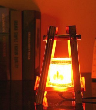 MECO(Fiche EURO) Nouvelle (Classe Vintage) des Lampes d'éclairage Nouvelle Lampe de Chambre en Bois de la Mode Créative de Style Pastoral Chaud Taille: 200x130mm Taille d'emballage: 200x150x200mm