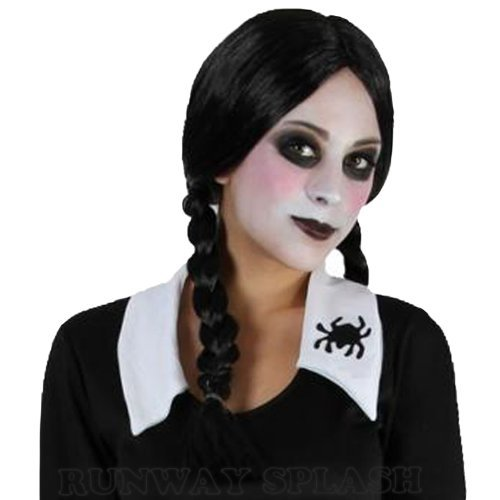 HALLOWEEN WEDNESDAY CREEPY SCHOOL GIRL FANCY DRESS COSTUME[Wig] ()