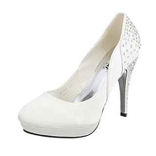 Ital-Design High Heel Pumps Damen-Schuhe High Heel Pumps Pfennig-/Stilettoabsatz High Heels Pumps Weiß, Gr 37, M162-