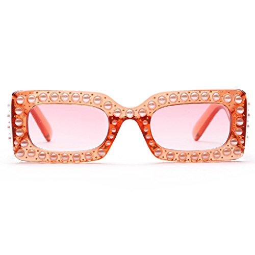 Dragon868 Frauen Universitätsstudent Pearl Square Frame Rahmen Shades Sonnenbrille Integrierte UV-Brille (C)
