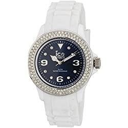 Ice-Watch Ladies Quartz Watch with Blue Dial Analogue Display and White Silicone Strap IB.ST.WBE.U.S.11