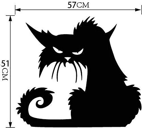 Schwarz Katze Halloween Mauer Aufkleber Karikatur Mauer Abziehbild Kunst Geist Hexe Tapete Tapeten Für Schlafzimmer Corp Büro Party Mauer Geschenke Zuhause Dekoration , 57*51cm