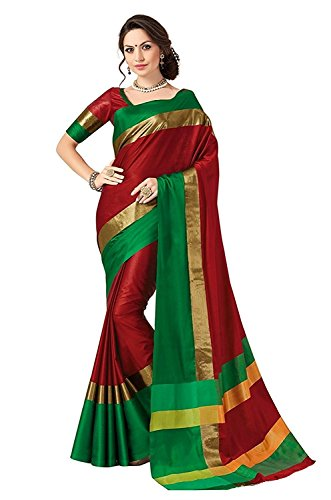 Indian Beauty Cotton Silk Saree with Blouse Piece (Green N_Red_Free Size)