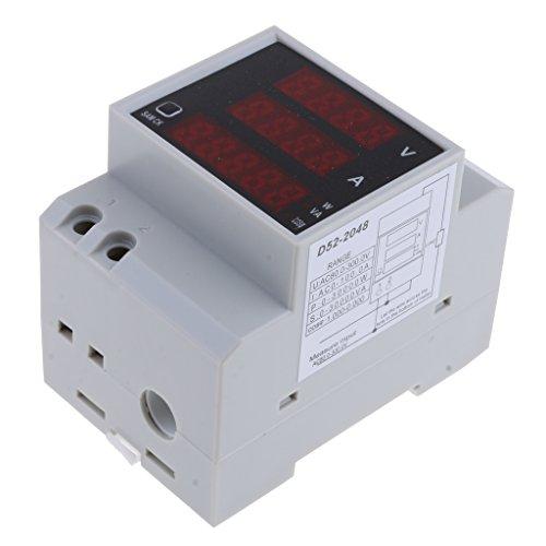 non-brand Sharplace Drehstromzähler AC Voltmeter Amperemeter Wattmeter Stromzähler Hutschiene Energiezähler - Weiß - 80-300 V