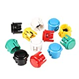 EG STARTS 12x 30mm Interruptor con botón pulsador Copiar Sanwa Obsf-30 Obsc-30 Obsn-30 Botones DIY Arcade Fighting Game Kits y Super Street Fighter Games - Cada color 2 piezas