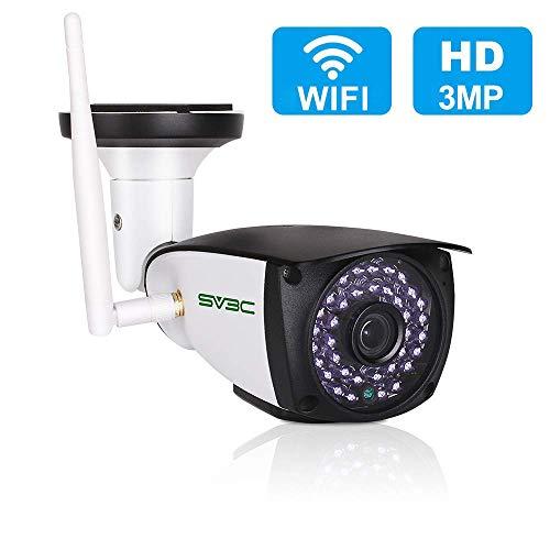SV3C 3MP Überwachungskamera Aussen Wlan,HD Sicherheitskamera für Außen,IP66 WLAN IP Kamera,64G SD Karten,Zwei-Wege-Audio,Bewegungserkennung,20M Nachtsichtfunktion,Kompatibel mit IOS/Android/Windows PC