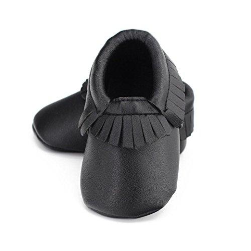Chaussures de bébé,Fulltime® Baby Boy Fille Tassel douce Sole Chaussures en cuir Chaussures enfant Noir