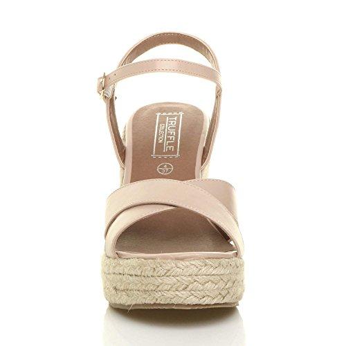 Femmes talon compensé haute été corde espadrilles sandales plate-forme pointure Beige