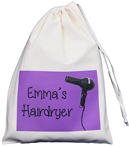 small storage bag - 41g4M 2B 2B8 IL - Personalised – Hairdryer Small Storage Bag – PURPLE DESIGN – Small Natural Cotton Drawstring Bag – SUPPLIED EMPTY