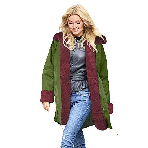 Luckycat Damen Kunstpelz Winterjacke Parka Kapuzenmantel Fishtail Long Sleeves Mantel Jacken Mäntel Sweatjacke Winterjacke Fleecejacke Steppjacke