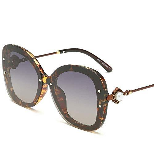 Wghz Übergroße Mode polarisierte Damen Sonnenbrille Retro Klassische Blumenfarbe Objektiv Sonnenbrille 100% UV-Schutz