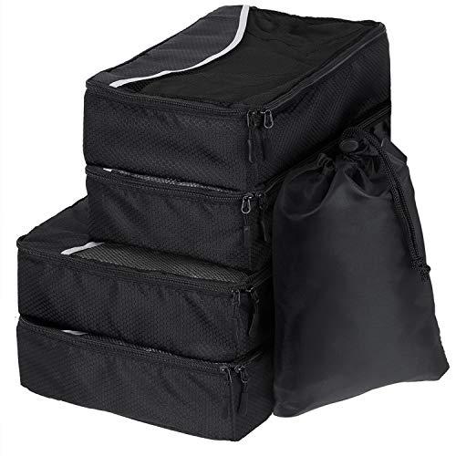 SWISSONA 5 Packwürfel im Set in 3 unterschiedlichen Größen, robust & langlebig, schwarz | Verpackungswürfel, Packtaschen, Kleidertasche, Kofferorganizer, Aufbewahrungstasche
