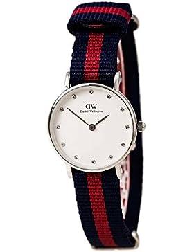 Daniel Wellington Damen-Armbanduhr XS Classy Oxford LADY SILVER Analog Quarz Nylon DW00100072