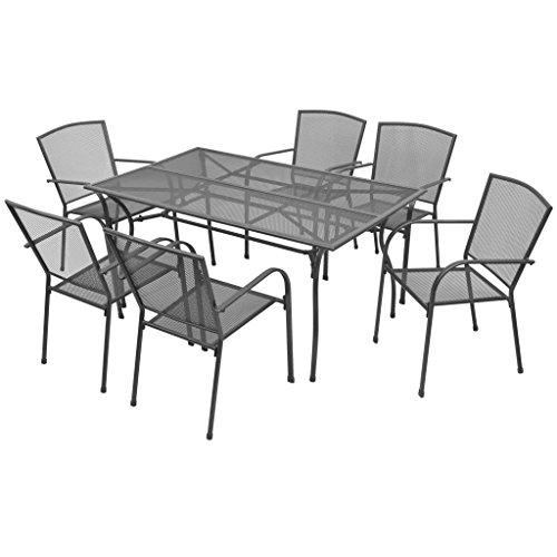 vidaXL Gartenmöbel 7-tlg. Streckmetall Stapelbar Gartengarnitur Sitzgruppe (Stahl-rahmen Gehärtetem Aus Glas)