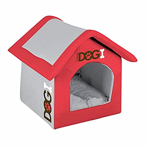 Luxury Padded Indoor Lightweight Dog House - 2 Colour and Sizes Available (Red, Large (54x50x46cm))