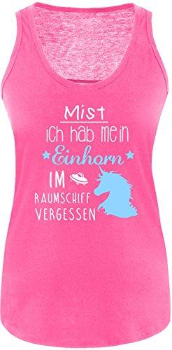 ezyshirt Mist ich habe mein Einhorn im Raumschiff vergessen Damen Tanktop Fuchsia/Weiss/Hellbl