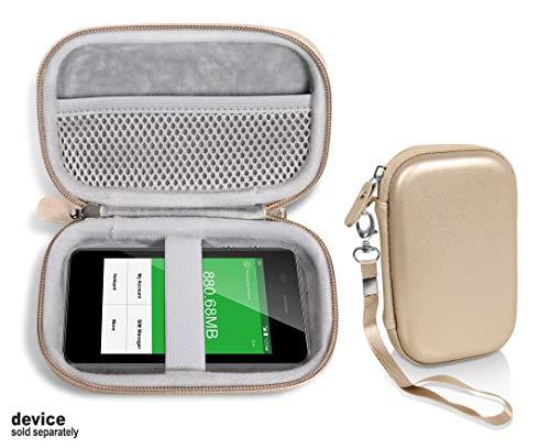 Goldfarbene Schutzhülle für GlocalMe G3 4G LTE Mobile Hotspot, Netztasche für Kabel, Easy to Go Handgelenkschlaufe, kompakte leichte Hülle - Prepaid Wireless Phone
