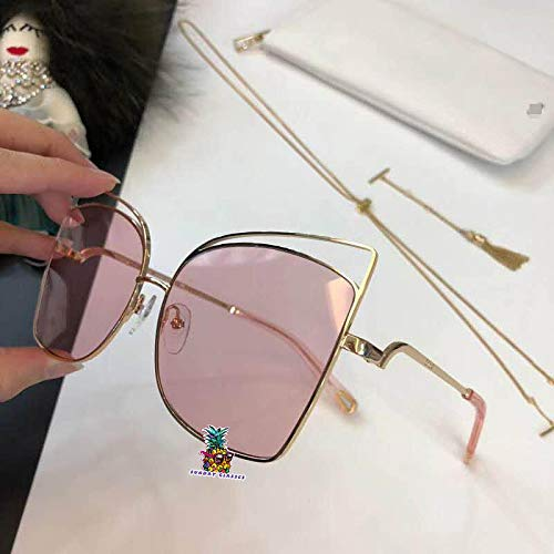 Aviator Sunglasses Metal Frame Flat Mirrored Lens for CHL 2125S-gold pink
