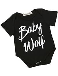 koly Niños bebés breve carta de la manga camisa de la impresión del mameluco