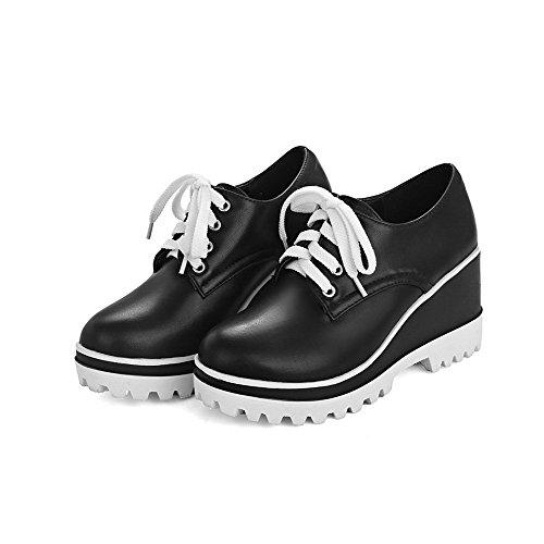 AgooLar Femme Rond à Talon Haut Matière Souple Lacet Chaussures Légeres Noir