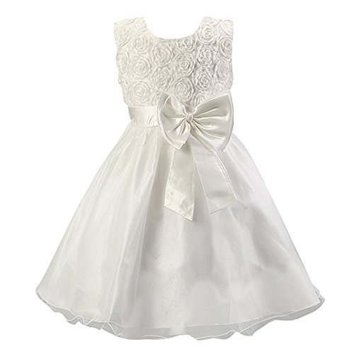 LSERVER-Abito senza maniche, con rose e fiocco, formale, per festa di nozze, damigella d'onore