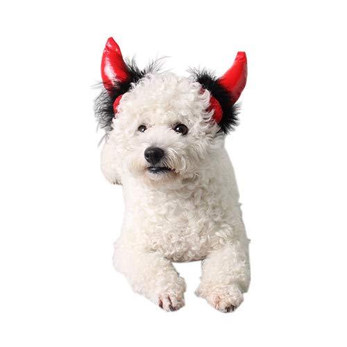 QNMM Pet Halloween Adorable Pet Kostüm Hut Katze & Hund Devil Horns Kopfschmuck, Festival Fancy Dress Up Für Halloween Christmas Events,M