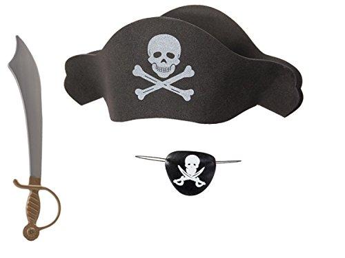 Kostüm Sparrow Kid's Captain Jack - Alsino Piraten Verkleidung Kostüm (Kv-67) Karneval Fasching Pirat mit Säbel Augenklappe und Piratenhut mit Totenkopf Schwert Set
