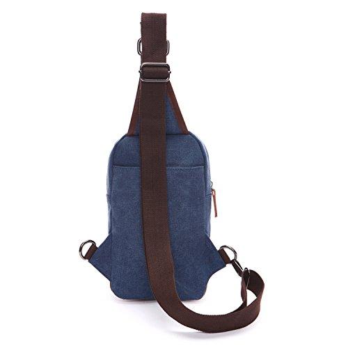Outreo Borsa a Spalla Petto Borse Vintage Chest Bag Piccolo Tracolla Uomo Sport Marsupio Tasca di Tela per Outdoor Borsello Militare Tasche Trekking Viaggio Blu