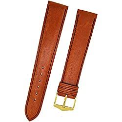 Orig. Fortis Smooth Brown Leather Watch Strap Buckle 18 mm 9131