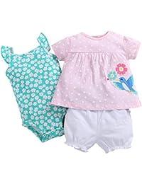 Odziezet Mono Bebé Niña Camiseta Pantalones Corto Peleles Conjuntos Verano Animal Estampado Algodón Jumpsuit 3 Meses-2 años