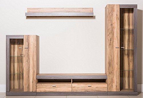 Wohnwand Anbauwand 4-teilig mit Standvitrinen 215528 nussbaum / darkwood eiche - 2