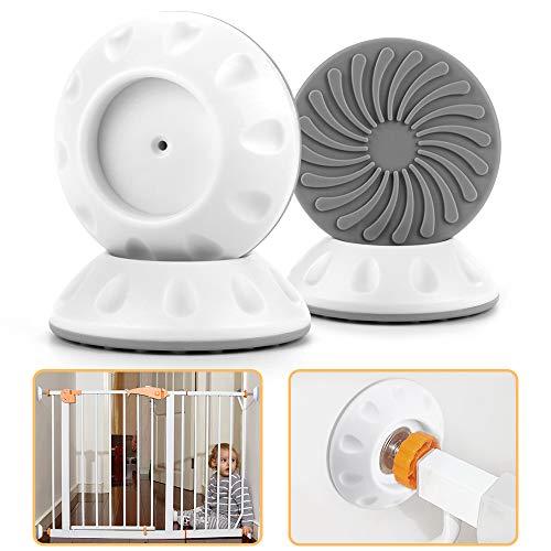 4 Stück Baby Sicherheits Wandschutz Pads für Tür Baby-Druck Kind Hund, Nakeey Wandschutz für treppenschutzgitter, Sicherheits Wandschutz für Baby Gattern, ohne bohren, zum klemmen türgitter -