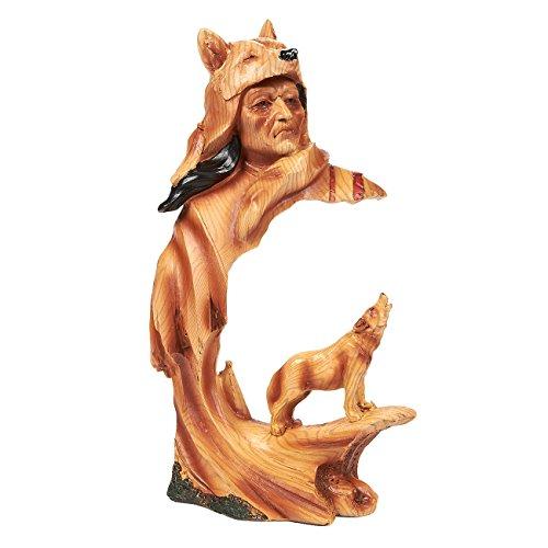 Indianer-Figur, Indianer-Krieger, Indianer, Indianische Skulptur für Innendekoration, 13 x 23 x 6,9 cm, Braun (Krieger-statue-figur)