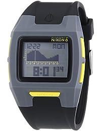 Nixon Lodown II Gray Black Yellow - Reloj de cuarzo para hombre, correa de plástico color negro