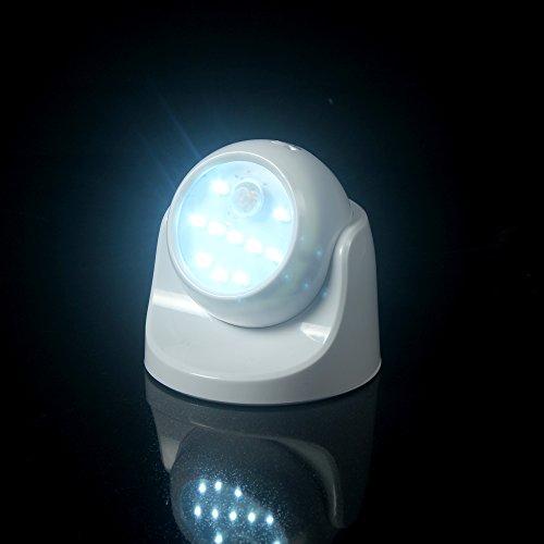 [LEDemain] Sehr hell, Abnehmbares, kabelloses, batteriebetriebenes Sicherheitslicht mit PIR-Sensor / Bewegungsmelder, für den Einsatz im Freien geeignet. - Weiss