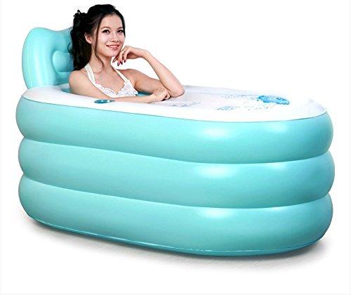 LFNRR Leicht zu tragen bei Erwachsenen aufblasbare Badewanne Whirlpool Badewanne Barrel faltbare Badewanne aus durchsichtigem Kunststoff Badewanne Barrel verdickt, Blue Queen + elektrische Pumpe