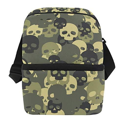 QMIN Business Lunchtasche grün Camouflage Skull Lunchbox Reißverschluss isoliert Thermo-Thermo-Rucksack Tragetasche mit Schultergurt für Mädchen Jungen Damen ()