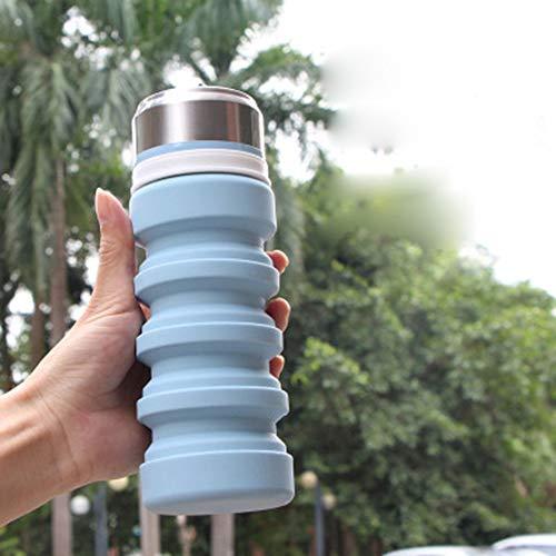 Grww ofd Reise Glas Wasserflasche, bequem Squeeze Typ Faltbare Wasserflasche Outdoor Sports Teleskop Silikon Wasserkocher Direktverkauf (180ml-420ml),B