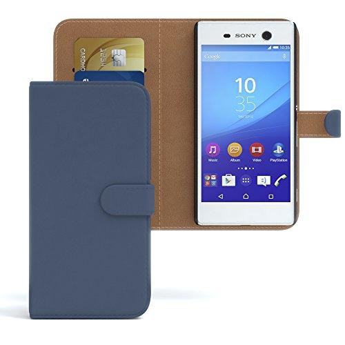Sony Xperia M5 Hülle - EAZY CASE Premium Flip Case Handyhülle - Schutzhülle aus Leder in Schwarz Dunkelblau (Book)