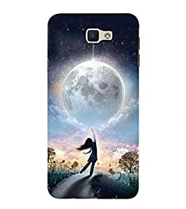 Takkloo Beautiful big moon nice painting,cloudy sky, twinkling stars, girl touching moon) Printed Designer Back Case Cover for Samsung Galaxy On Nxt (2016)