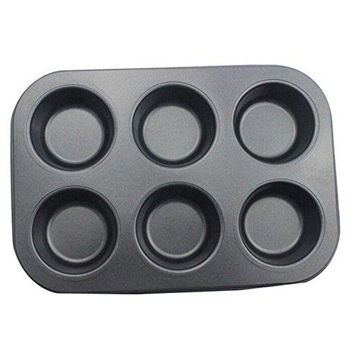 Demarkt Muffinblech Muffinförmchen Muffinform Backblech für Muffins Cupcakes Pudding und Brownies Antihaftbeschichtung Eisen 26.5x18.5x2.8cm Schwarz