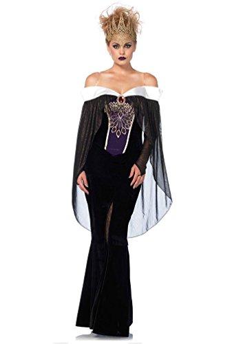 öse Königin Kostüm Damen Schneewittchen Luxus Stiefmutter Märchen-Kostüm mit Krone Karneval Damen-Kostüm Größe 42/44 ()